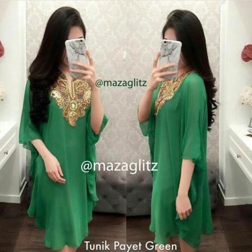 Foto Produk Tunik Payet Warna Hijau dari Maza Glitz