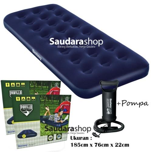 Foto Produk Bestway 67000-1 Kasur Angin Single + Pompa / Paket Kasur Angin Single dari Saudara Shop
