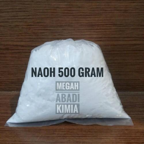 Foto Produk Soda Api / Caustic Soda / NaOH / kaustik / Sodium hydroxide / 500 grm dari Megah Abadi Chem