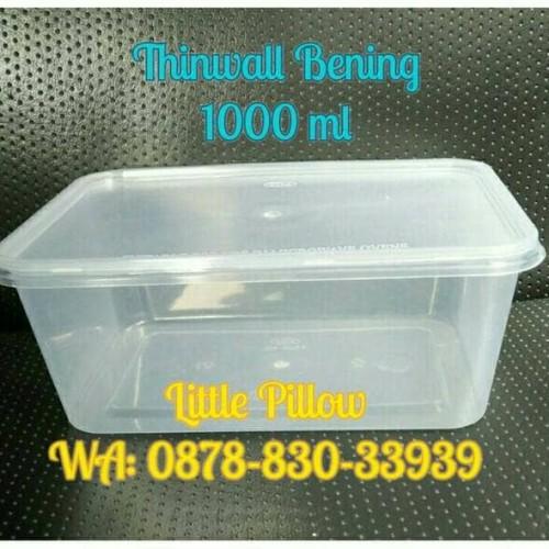 Foto Produk Kotak Makan Bening 1000ml/Lunch Box/Thinwall/Food Container dari Little Pillower