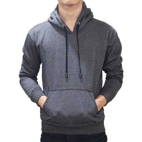 Foto Produk (PROMO) Hoodie Jumper Sweater Polos Abu-Abu Tua - Dark Grey - Abu -abu Tua, M dari Hoodie Center