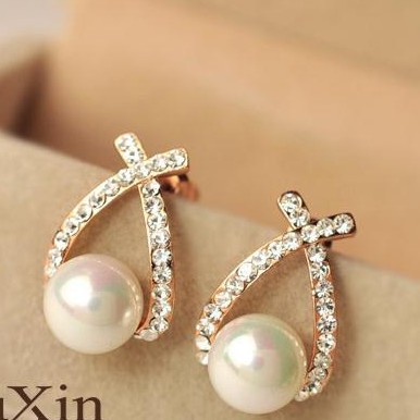 Foto Produk anting mutiara diamond silang cross pearl diamonds earrings jan096 dari Oila