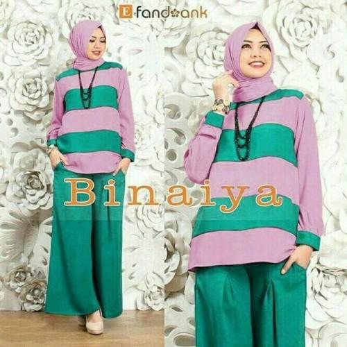 Foto Produk Baju Busana Muslim Setelan Kulot Wanita CKR Binaiya Sett 3in1 Tosca dari Djeeva Store