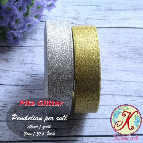 Foto Produk Pita Glitter 2 cm / 3/4 Inch - Emas dari Kutique Craft