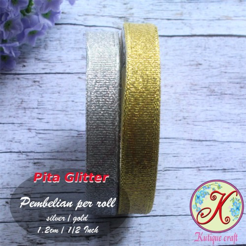 Foto Produk Pita Glitter 1,2 cm / 1/2 Inch - Emas dari Kutique Craft
