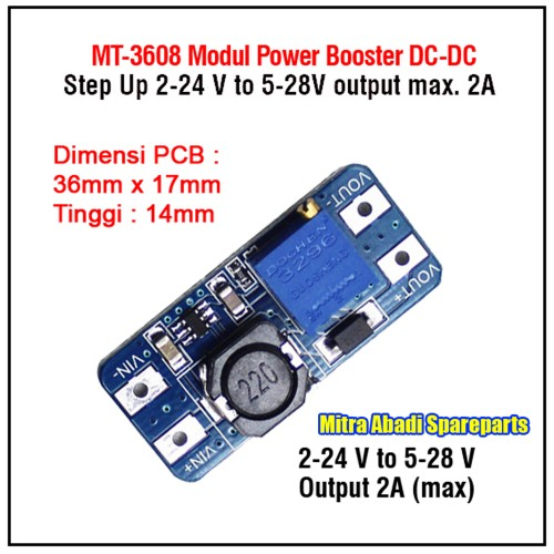 Foto Produk Driver Step Up MT-3608 2-24V to 5-28V Max. 2A dari Mitra Abadi Spareparts