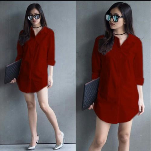 Foto Produk [shinta pj maron RO] blouse wanita katun rayon maroon dari FASHIONISTA's GROSIR