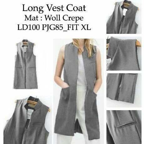Foto Produk [long vest coat grey RO] vest wanita woll crepe abu abu dari FASHIONISTA's GROSIR