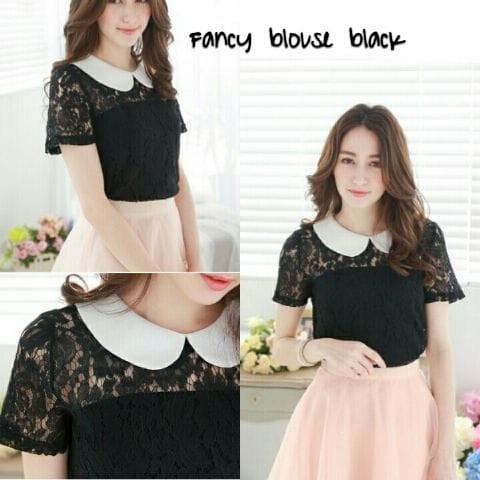 Foto Produk [fancy blouse black RO] blouse wanita brukat hitam dari FASHIONISTA's GROSIR