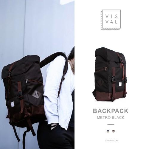 Foto Produk Tas Ransel Backpack Unisex Visval Metro Black Original dari Tiavia Cell