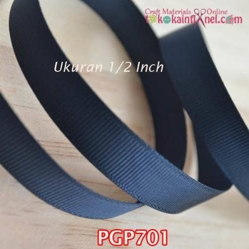 Foto Produk PGP701 Pita Grosgrain 1/2 inch Hitam Polos (Per meter) dari Toko Kain Flanel dot com