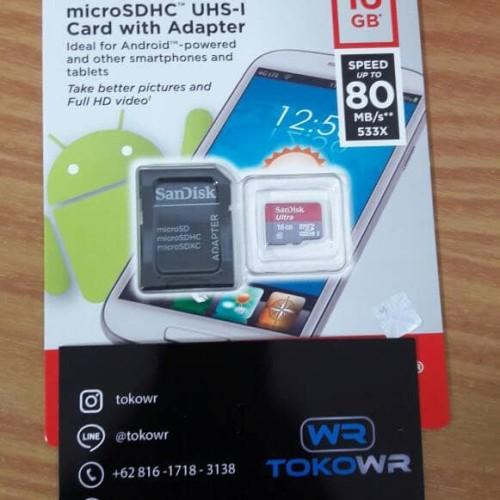 Foto Produk Sandisk Ultra MicroSd 16GB 80mb/s Resmi dari TokoWr