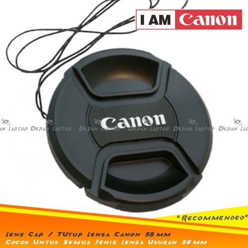 Foto Produk Lens Cap Tutup Penutup Lensa Kamera 58mm Logo Canon Kit 18-55mm dll dari depanlaptop