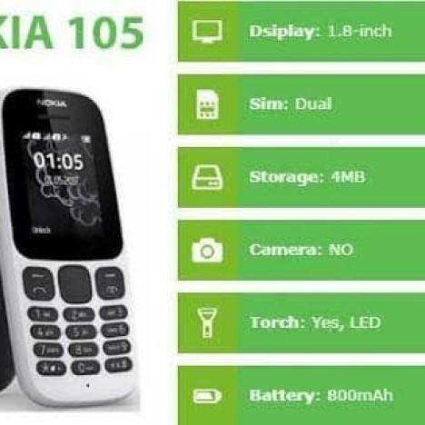 Foto Produk NOKIA 105 DUAL SIM NEW RESMI NOKIA - Hitam dari SKW PHONE