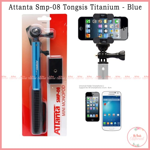 Foto Produk Tongsis Attanta Titanium SMP-08 Monopod - Biru For Smartphone Gopro dari We Needs Official