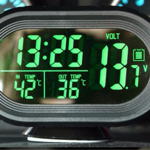 Foto Produk Voltmeter Digital Jam Suhu 2 backlight Volt meter aki accu mobil 4in1 dari wirdi