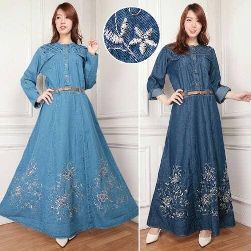 Foto Produk maxi dress jeans jumbo alaska gamis bordir - Biru dari holy Beauty
