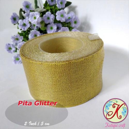 Foto Produk Pita Glitter 2 Inch / 5 cm Gold Per Meter dari Kutique Craft