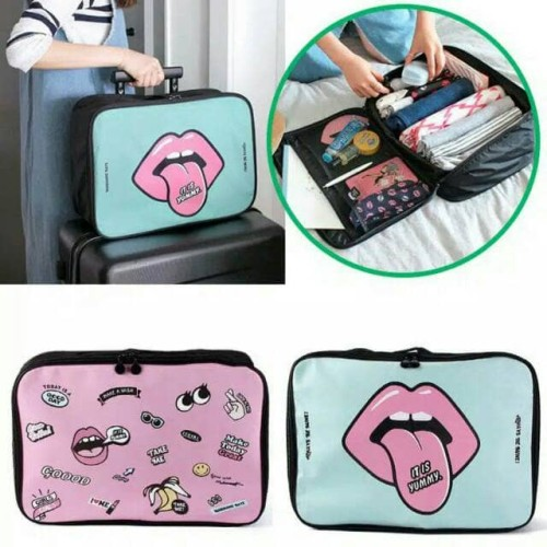 Foto Produk korean trunk bag BIG ( cute cartoon edition ) tas pendamping koper - MINT dari AZISTA SHOP