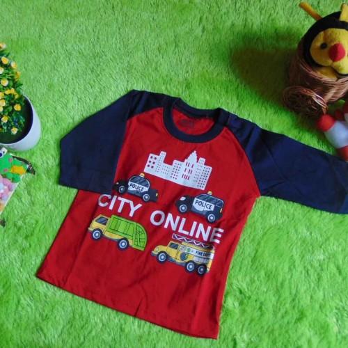 Foto Produk kaos raglan anak 2-3th motif City Online Merah  dari KembarShop1