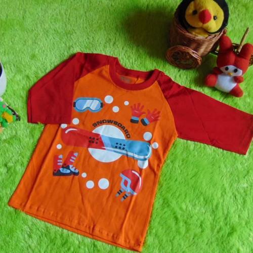 Foto Produk kaos raglan anak 2-3th motif Snowboard orange  dari KembarShop1