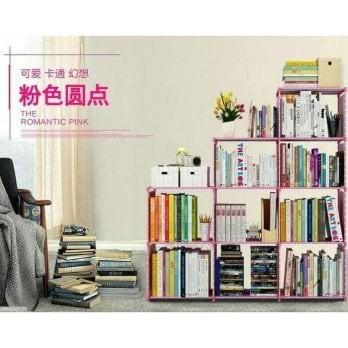 Foto Produk Rak buku portable 3 sisi ( 9 ruang ) serbaguna - rak lemari sepatu RB3 - grey dari Juru Selamat