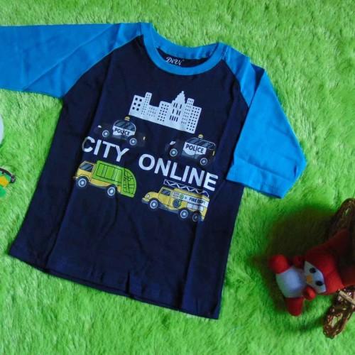Foto Produk kaos raglan anak 3-4th motif City Online Navy dari KembarShop1