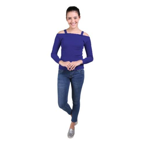 Foto Produk Jfashion Blus Rajut/Knitting Tangan Panjang Open Shoulder - Selvi - Biru dari j--fashion