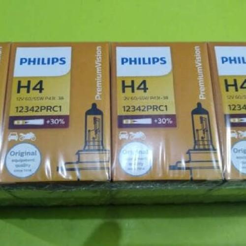 Foto Produk bohlam lampu depan Philips type H4 12V 60/55 watt + 30% lebih terang dari Eka Jaya otista