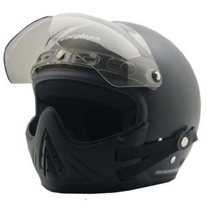 Foto Produk PAKET Helm Cargloss CF Retro Black Doff + masker + visor - M dari Helm Cargloss