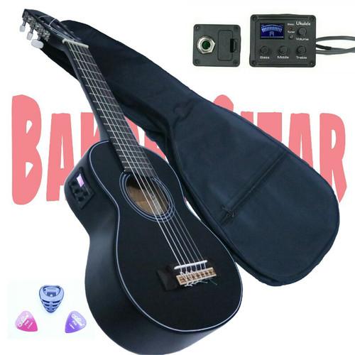 Foto Produk Gitar akustik elektrik lele mini tunner,kado,koleksi,6 senar nilon - Hitam dari dapid bakoel gitar