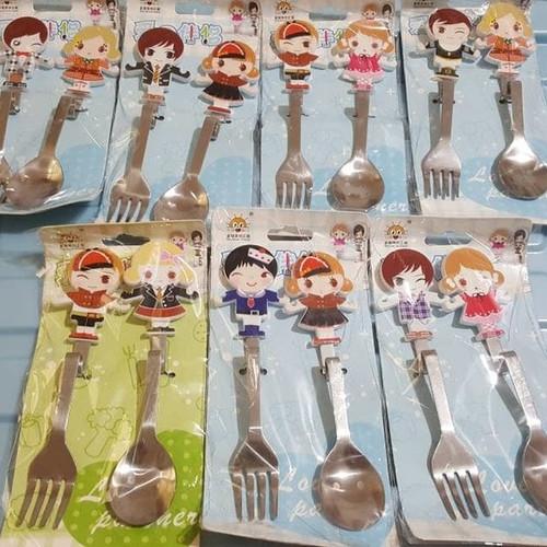 Foto Produk Stainless Couple set Spoon Fork/Sendok Garpu lucu, cocok utk Souvenir dari Hello Maddie