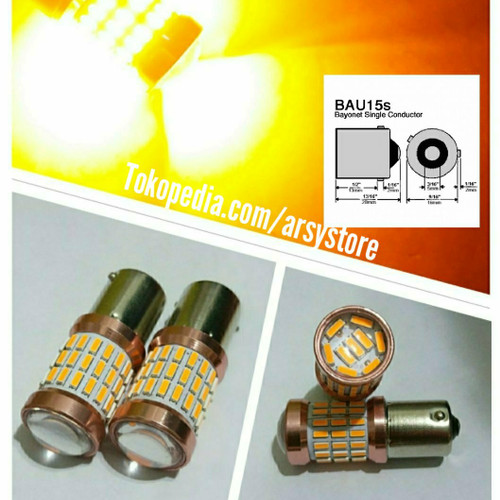 Foto Produk Lampu LED Sein Sen Cumi 4014 60 mata Lensa Bayonet BAU15s PY21W Kuning - Kuning dari arsystore
