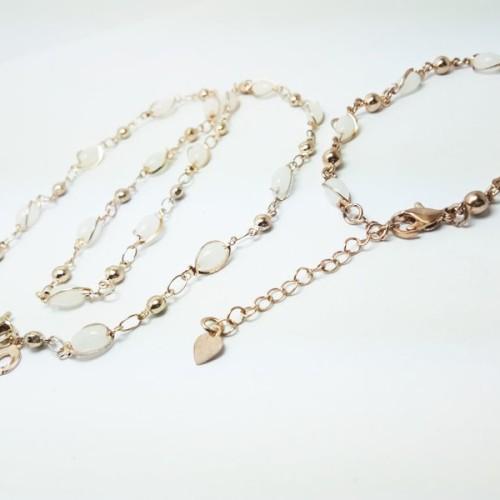 Foto Produk VeE Paket Kalung Gelang Wanita Lapis Emas 18K Batu Giok Putih dari Vee Jewelry