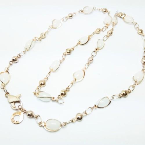 Foto Produk VeE Kalung Wanita Lapis Emas 18K Batu Giok Putih dari Vee Jewelry