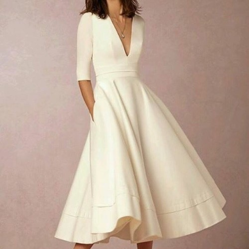 Foto Produk Midi dress Scuba Putih - Multicolour, S dari Valettashop
