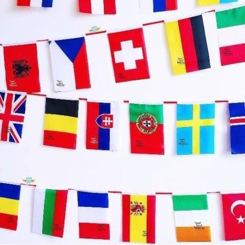 Foto Produk Bendera Negara Dunia Eropa Asia Afrika isi 50 negara (uk. 14 x 21.5) dari Om Botak