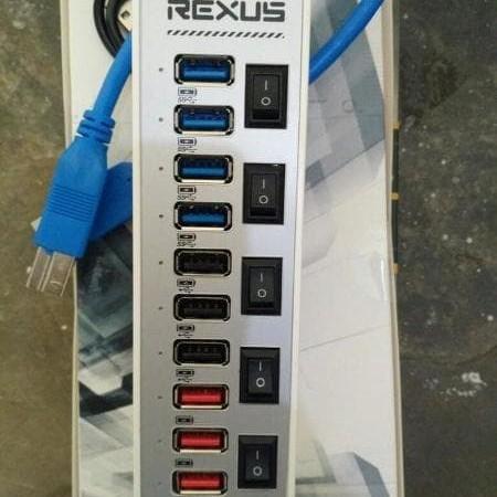 Foto Produk usb 3.0 Hub 10 port Rexus switch fast charging Promoo dari LeoKomputer
