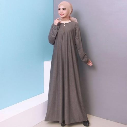 Foto Produk Baju Gamis Wanita Gamis Jumbo Polos L - XXXL Bahan Misty 9621 - DARKGREY, XXL-XXXL dari Hitjab