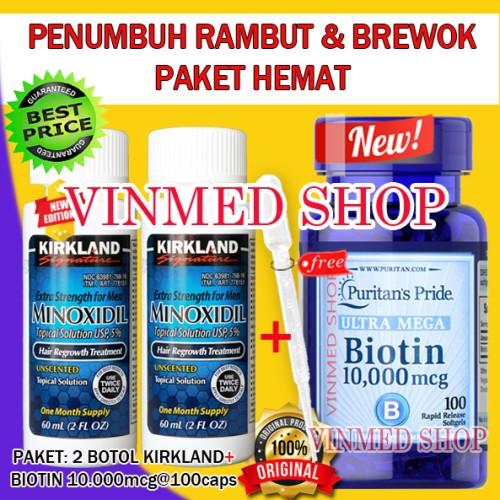Foto Produk Kirkland Minoxidil 5%(2 Botol)+Biotin 10.000mcg(100 Caps)Paket Irit dari vinmed