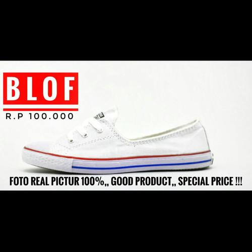 Foto Produk Sepatu Converse Ledis Tali Tiga Warna Putih List Biru Merah dari BLOF STORE