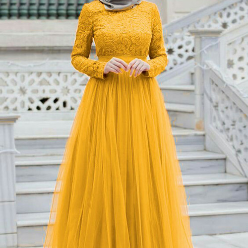 Foto Produk Almaer Longdress Brukat Mustard dari HER'Z SHOP