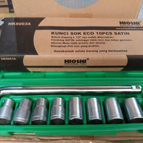 Foto Produk Kunci Sok Set Eco HIOSHI 10 Pcs Satin O.5 Inch Drive Socket Bit Set Li dari Fastpro