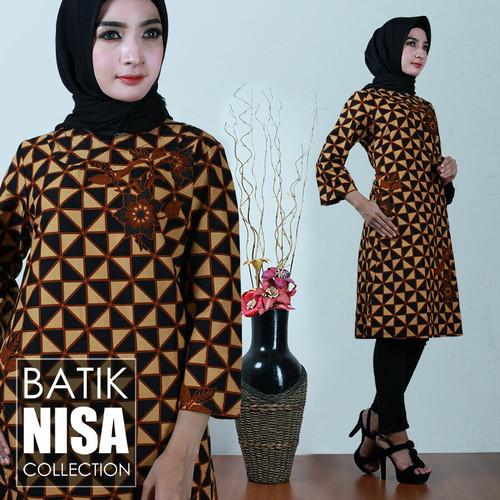 Foto Produk Baju Batik Dress Terusan Wanita Bunga Kotak Katun Cap Malam Etnik dari Batik Nisa Colection