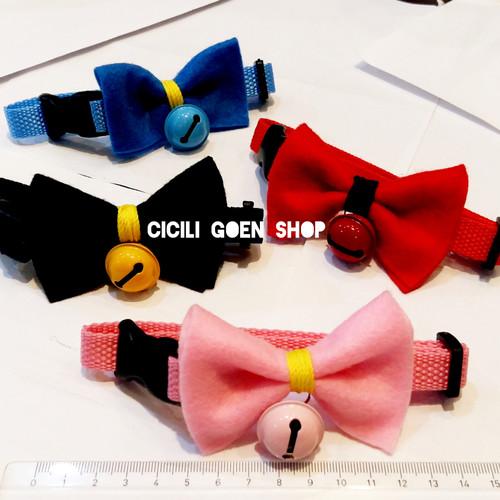 Foto Produk Collar nylon pita lonceng besar kalung nilon tebal kupu anjing kucing dari cicilia Goen Shop