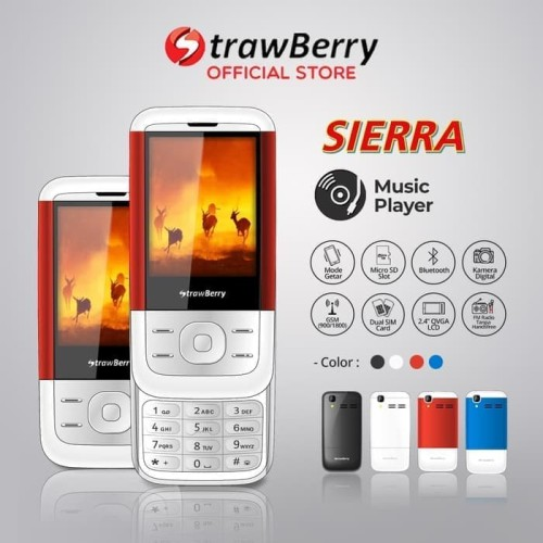 Foto Produk Strawberry – Sierra   Handphone Slide HP Murah Kamera Bluetooth dari prayoga cell