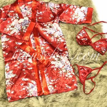 Foto Produk MAIKO Sexy Lingerie Costume Japanese Geisha Oriental Kimono + Bra Set dari MauSeksi
