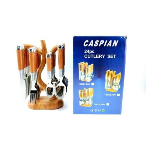 Foto Produk Sendok Set CASPIAN Motif Kayu 24 Pcs Cutlery Pisau Garpu Makan Dapur dari PELANGI15 ACCESORIES