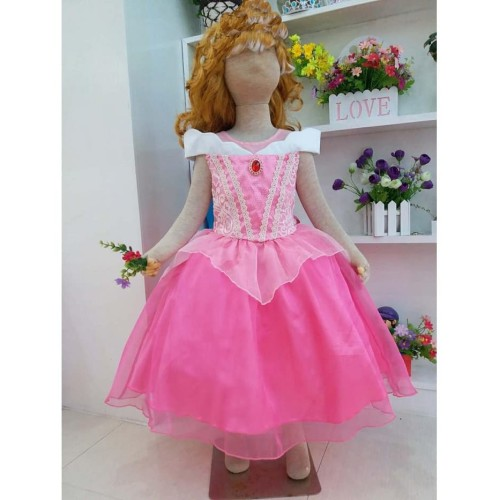 Foto Produk Baju Anak Dress Kostum Princess Aurora Pink Brukat Sifon Polos Glitter - Size 10 dari Reiko Store