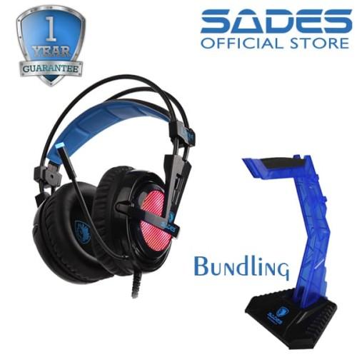 Foto Produk Sades Locust RGB Gaming Headset Bundling Headset Stand dari Sades Official Store